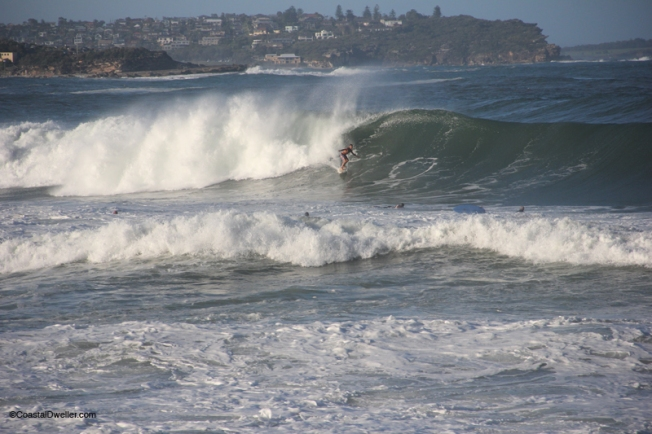Surfers at south Manly after the storm